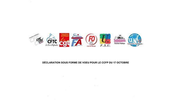 Déclaration unitaire de 8 organisations syndicales représentatives, dont la FA-FP, lors du CCFP du 17 octobre 2019