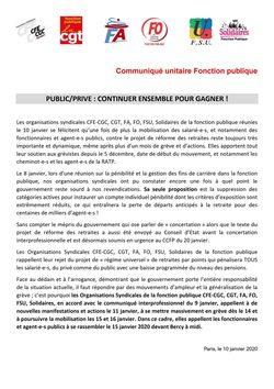 Communiqué unitaire - Public/privé: Continuer ensemble pour gagner