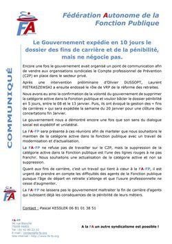 Communiqué FA-FP - Le Gouvernement expédie en 10 jours le dossier des fins de carrière et de la pénibilité, mais ne négocie pas