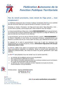 Communiqué FA-FPT - Pas de retrait provisoire, mais retrait de l'âge pivot ... tout simplement !