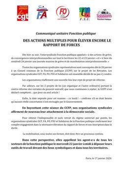 Communiqué unitaire - Des actions multiples pour élever encore le rapport de forces
