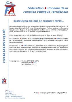 SUSPENSION DU JOUR DE CARENCE! ENFIN...