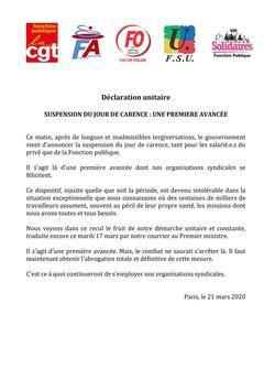 Déclaration unitaire  CGT FA FO FSU Solidaires -  Suspension du jour de Carence: une première avancée