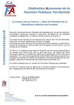 La France est en Guerre ... Mais le Président de la République méprise ses troupes