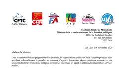 Covid-19 - Urgence sanitaire dans la Fonction Publique - Lettre ouverte à Amélie de Montchalin, Ministre de la transformation et de la Fonction Publiques