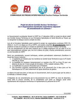 Projet de décret Comités Sociaux Territoriaux : Les 4 Organisations Syndicales majoritaires déposent 26 amendements en commun !