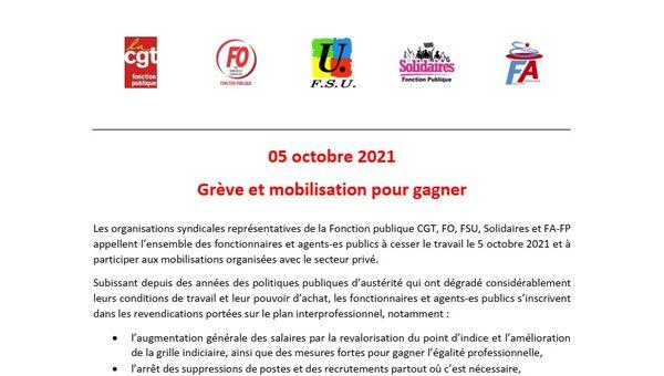 05 octobre 2021 - Grève et mobilisation pour gagner